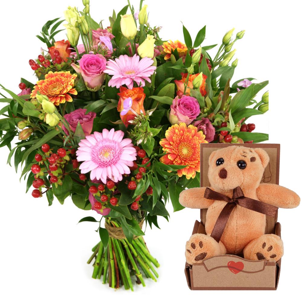 Geboorte bloemen en knuffel bezorgen