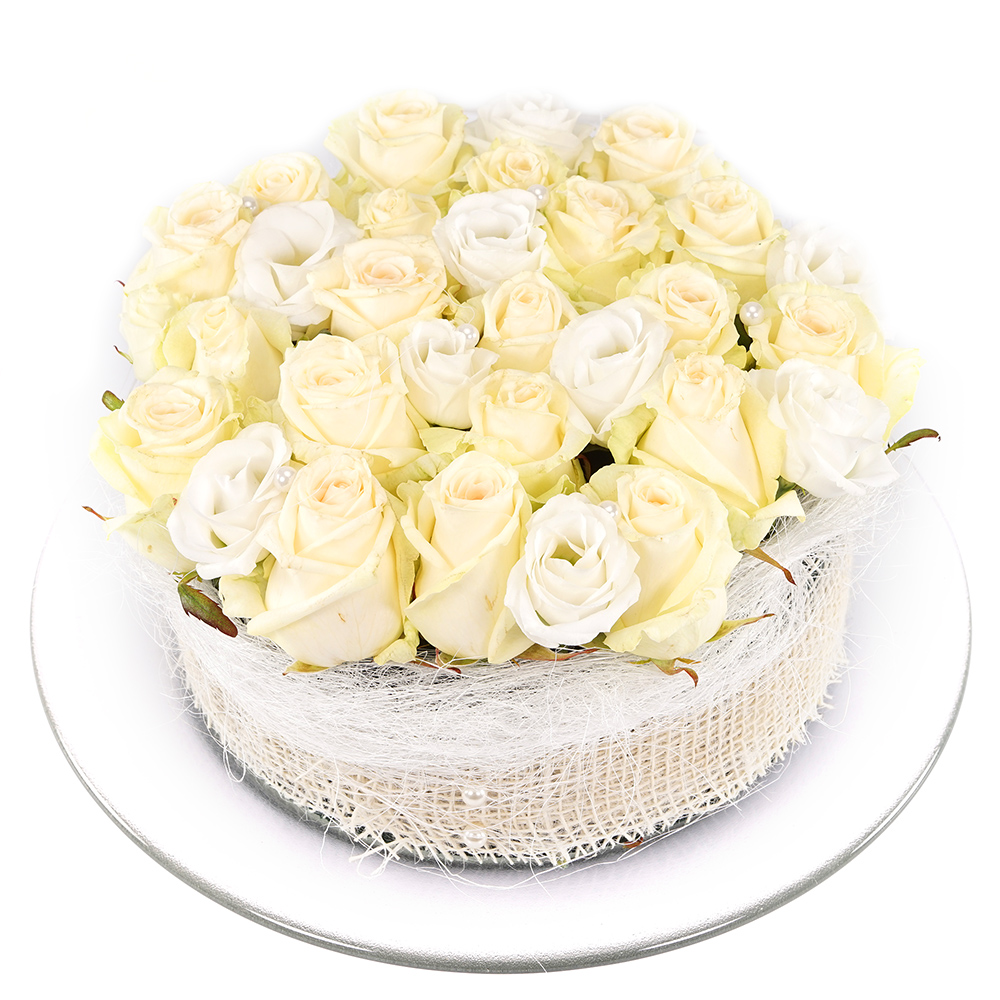 Witte rozen bloementaart kopen