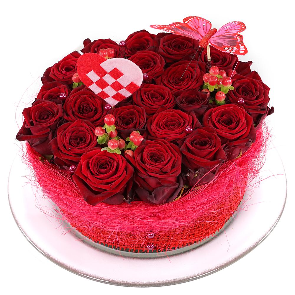 Rode rozen bloementaart versturen