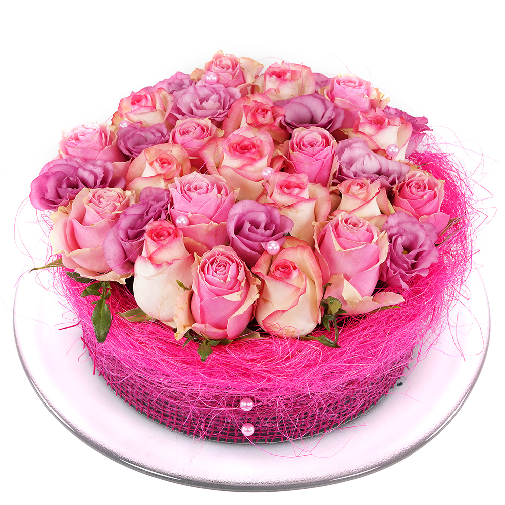 Roze rozen bloementaart bestellen