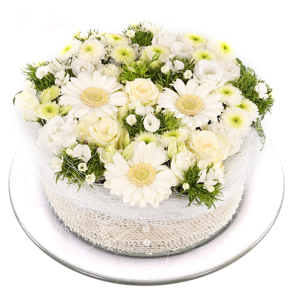 Wit groen bloementaart bestellen