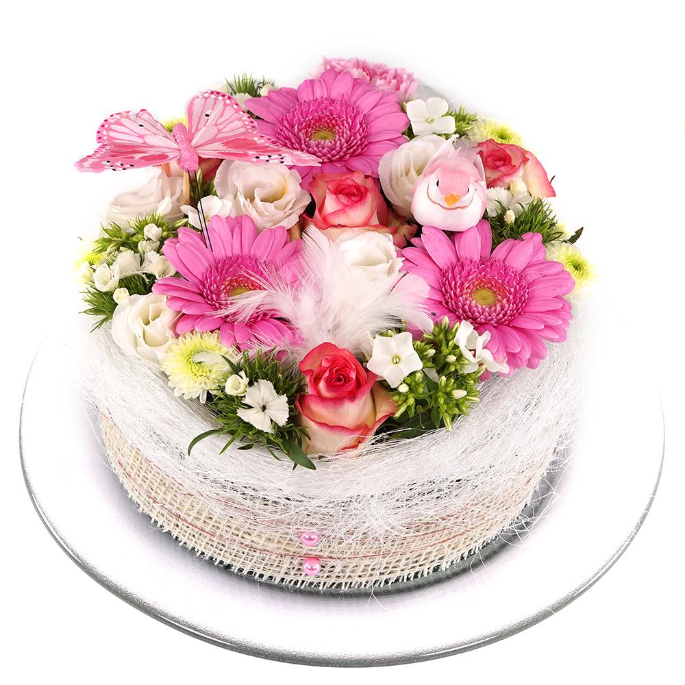 Roze wit pastel bloementaart online kopen