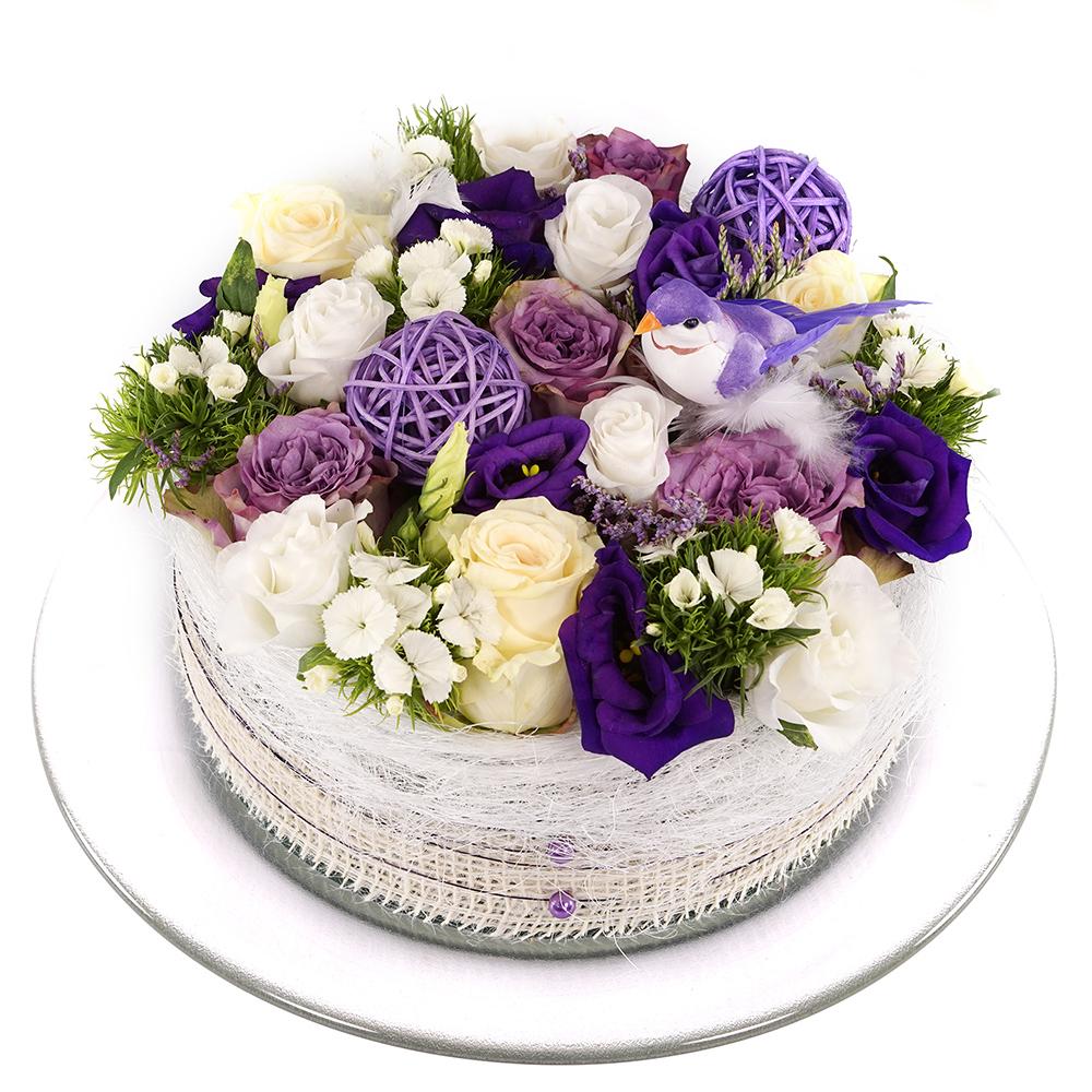 Wit paarse bloementaart kopen