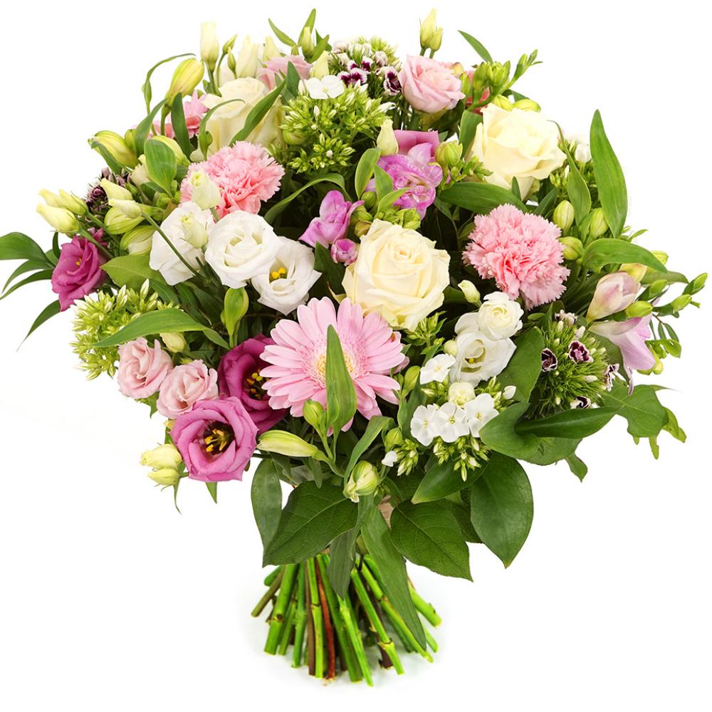 Witte en roze bloemen bezorgen