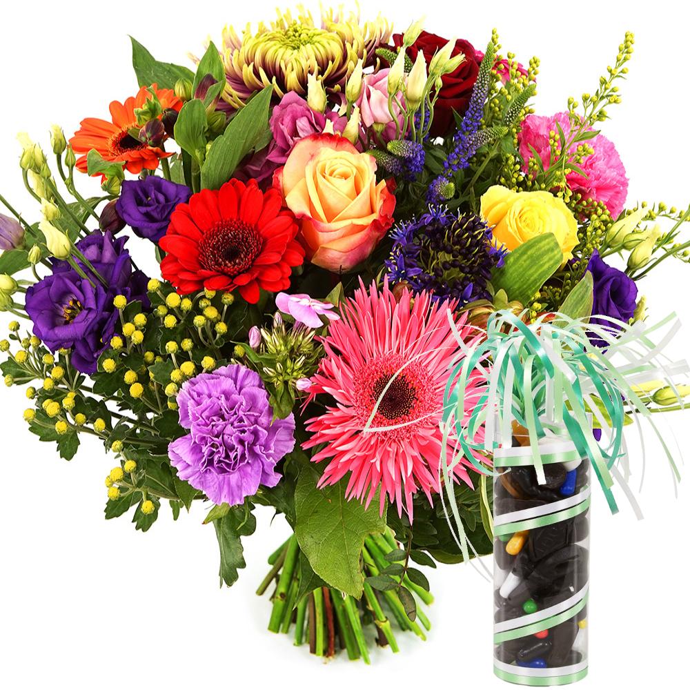 Fel gekleurde bloemen met drop bestellen