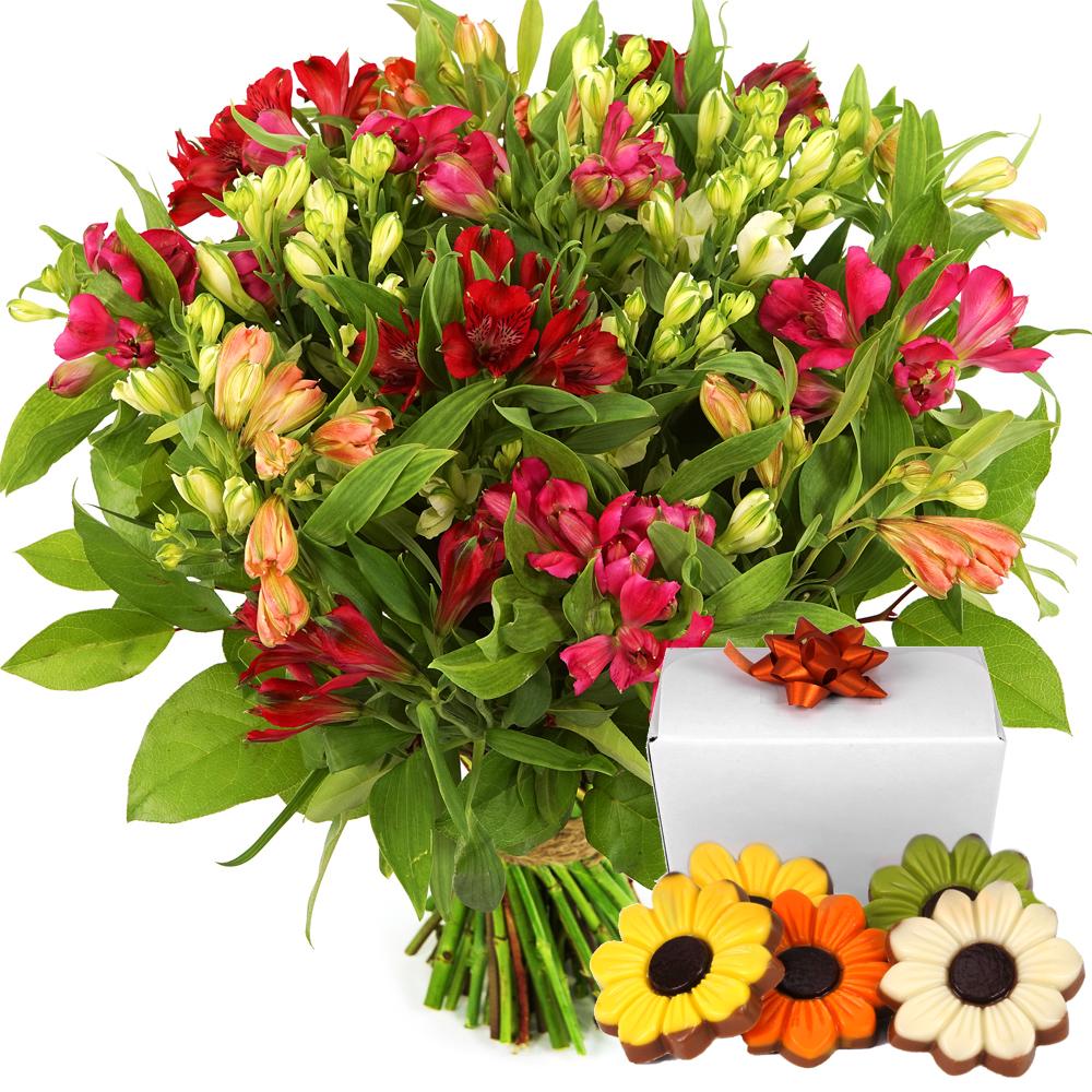 Alstroemeria bloemen en bloemetjes chocolade