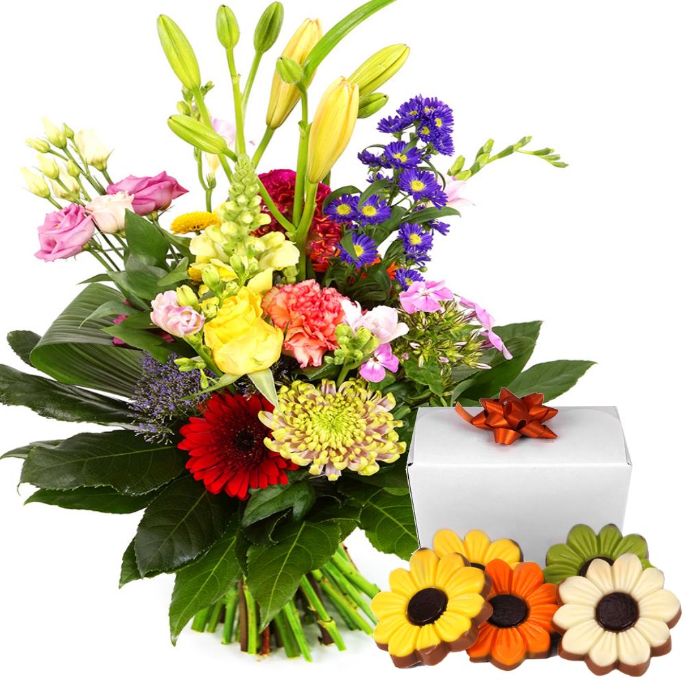 Modern boeket met bloemen chocolade