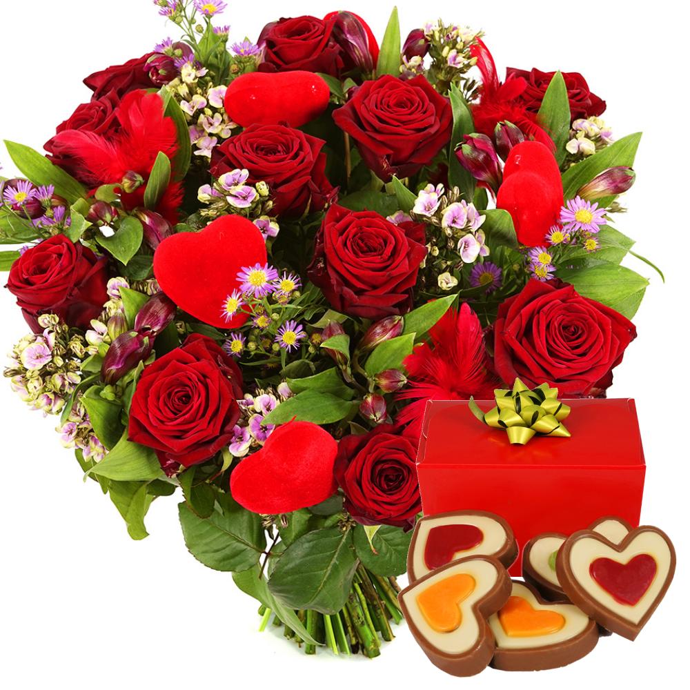 Rode rozen met hartjes chocolade bezorgen kopen doe je bij van der Voort
