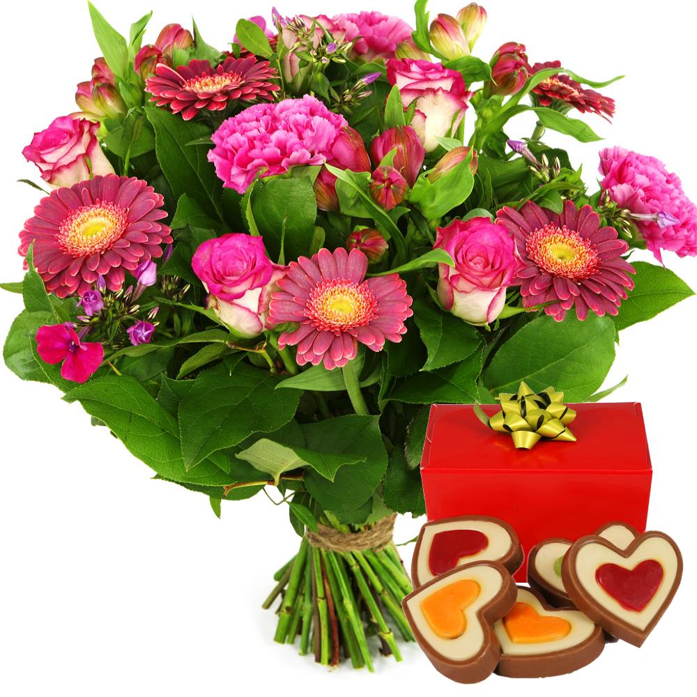 Roze bloemen met hartjes chocolade bestellen