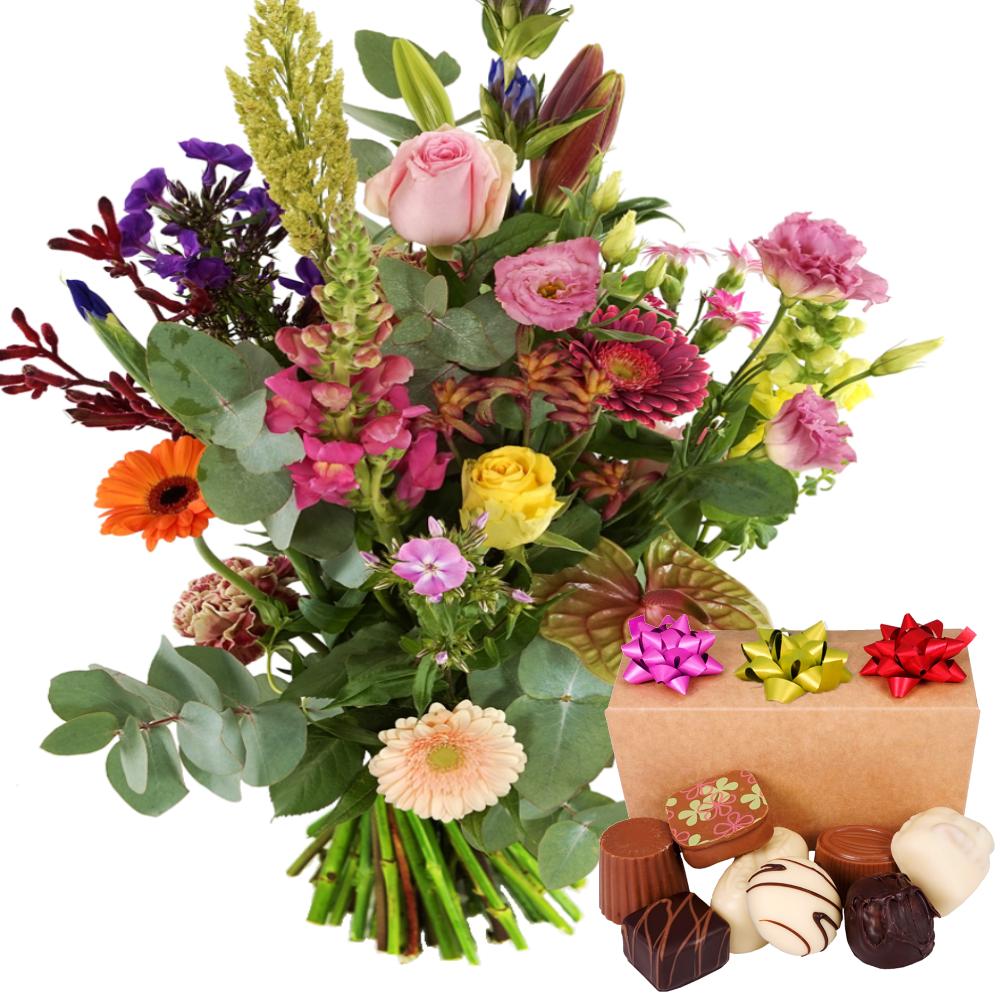 Bloemen tuinboeket met bonbons bestellen