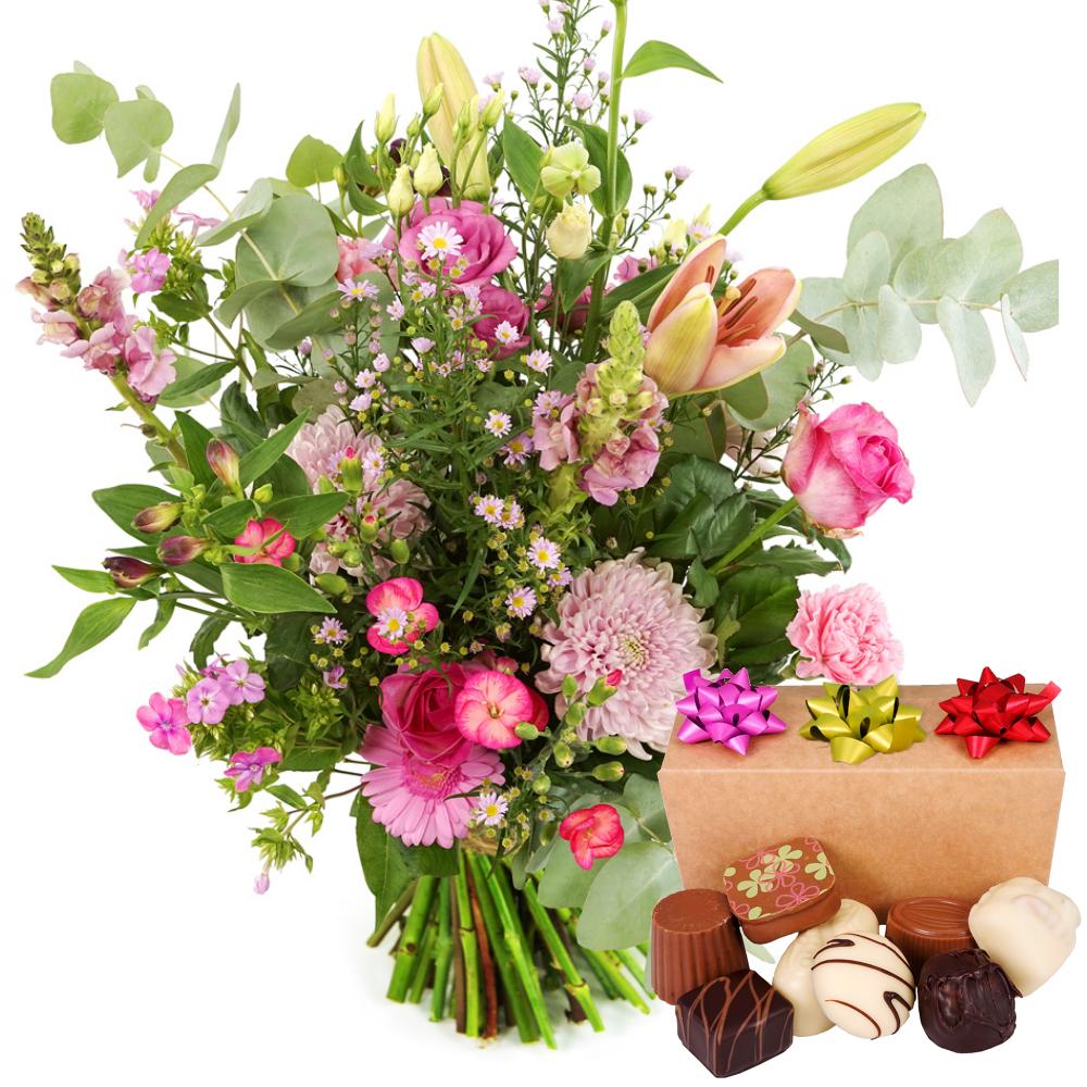 Roze bloemen met bonbons bezorgen