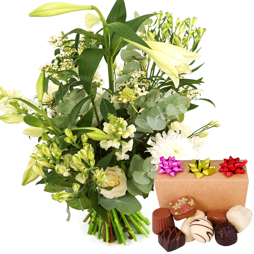 Witte pluk bloemen met bonbons kopen doe je bij van der Voort