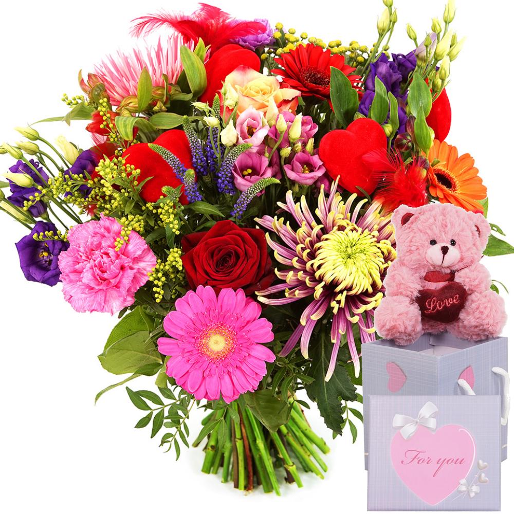 Bloemen met hartjes en knuffel bezorgen