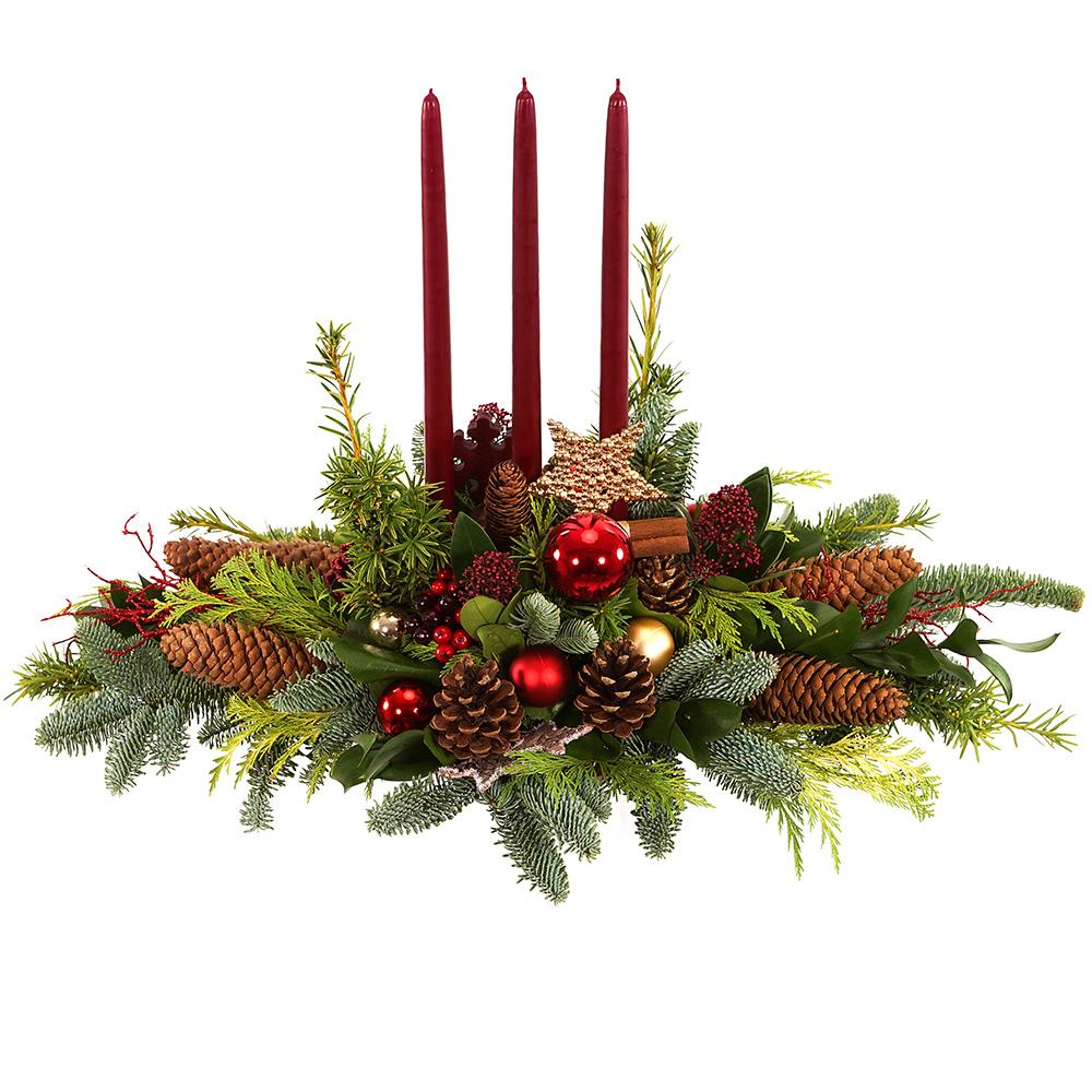 Tafel kerststuk met rode kaarsen bestellen