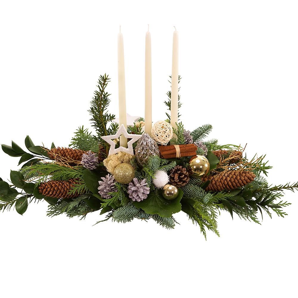 Tafel kerststuk met witte kaarsen bezorgen kopen doe je bij van der Voort
