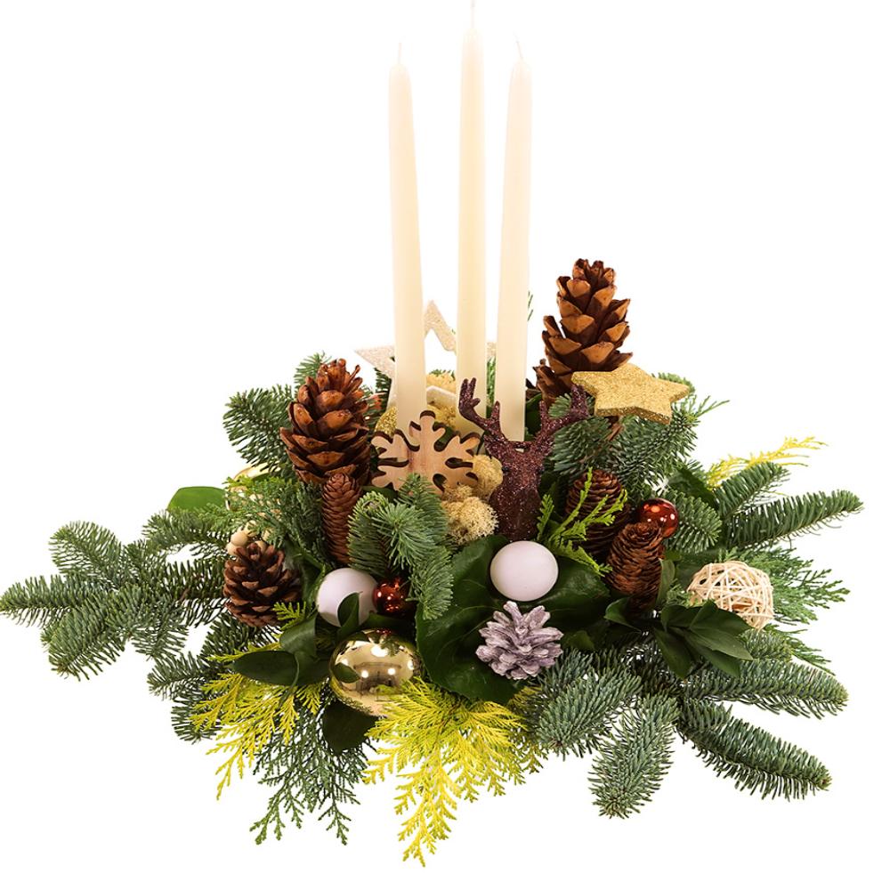 Tafel kerststuk lange kaarsen bestellen