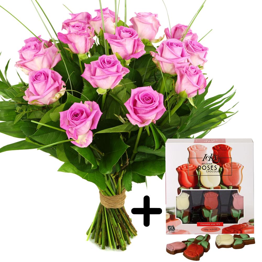 Roze rozen en rozenchocolade