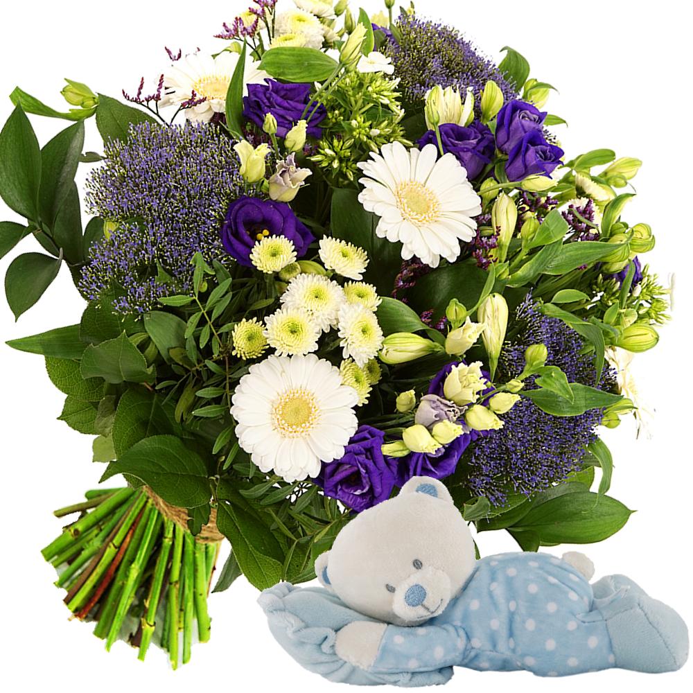 Geboorte bloemen + baby knuffelbeer