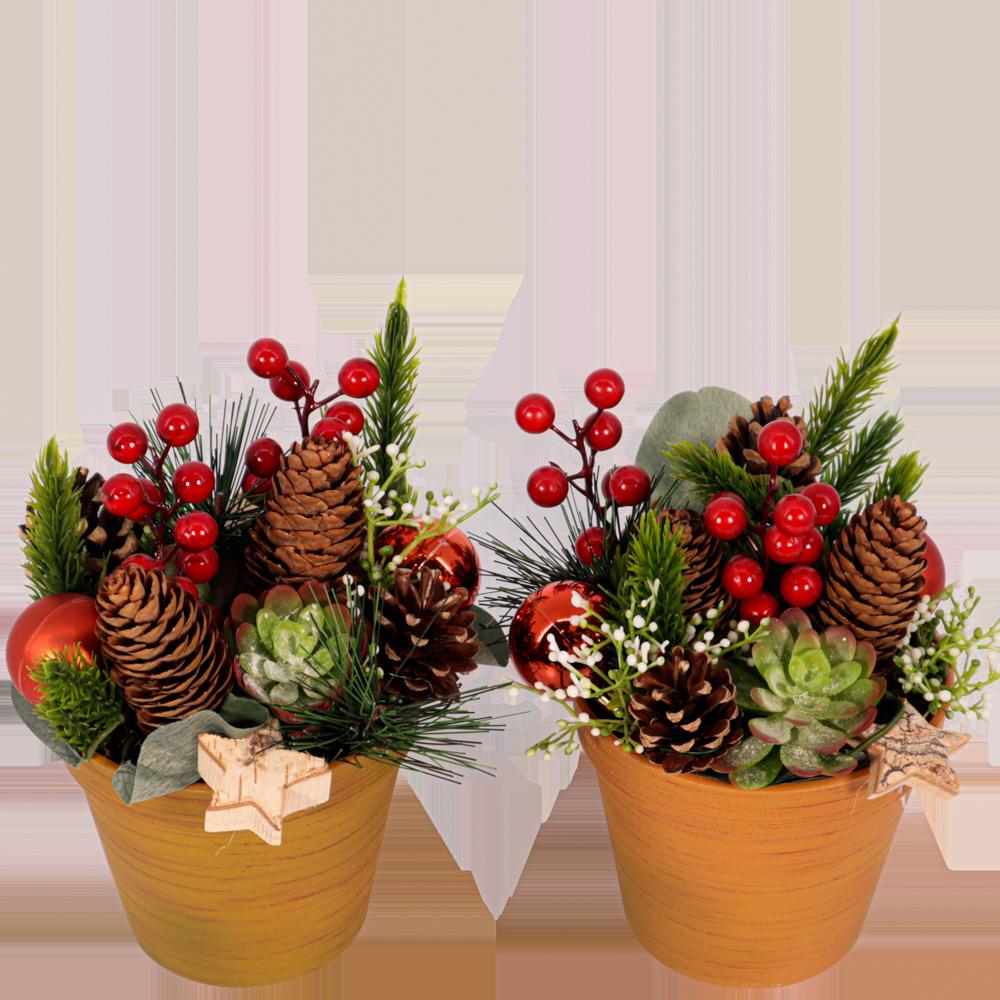 Twee kerststukken (geen water nodig)