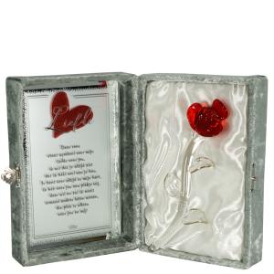 Glazen Rode Roos In Luxe Giftbox