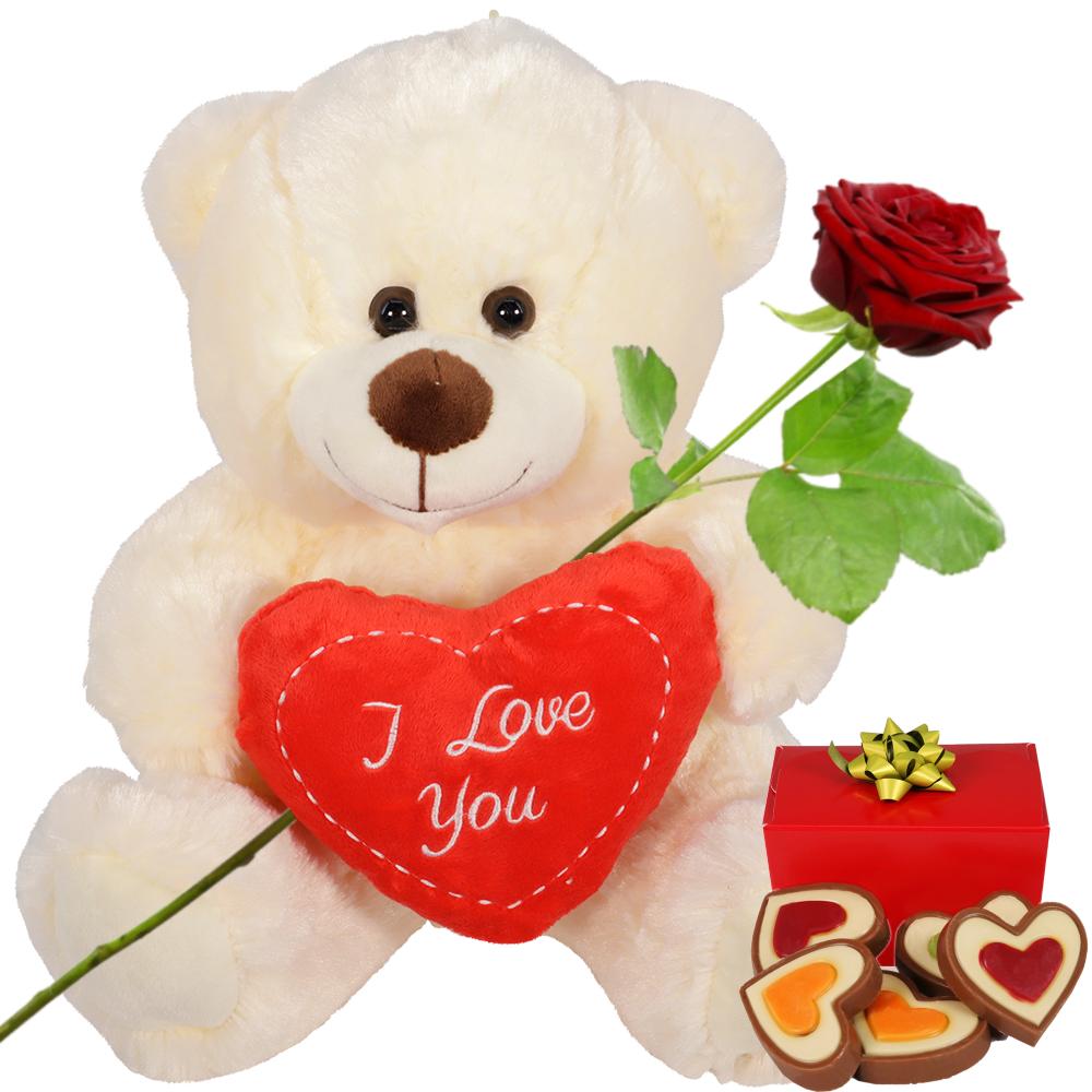 Witte knuffelbeer en hartjes chocolade kopen doe je bij van der Voort