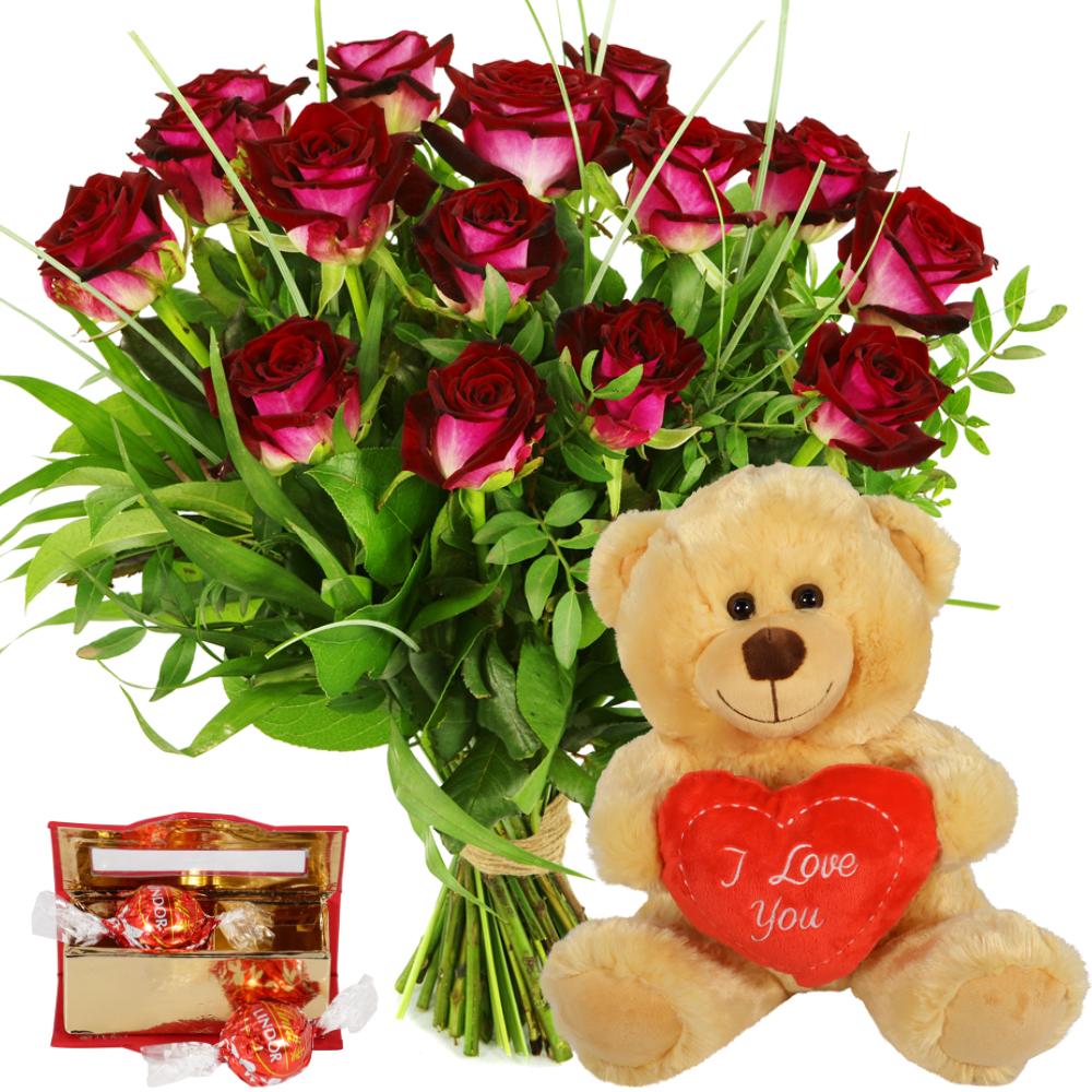 Rode rozen en knuffelbeer bezorgen kopen doe je bij van der Voort