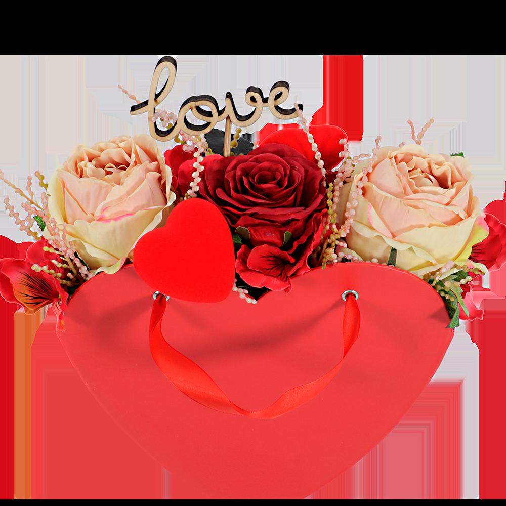 Valentijn hart met zijde valentijn rozen