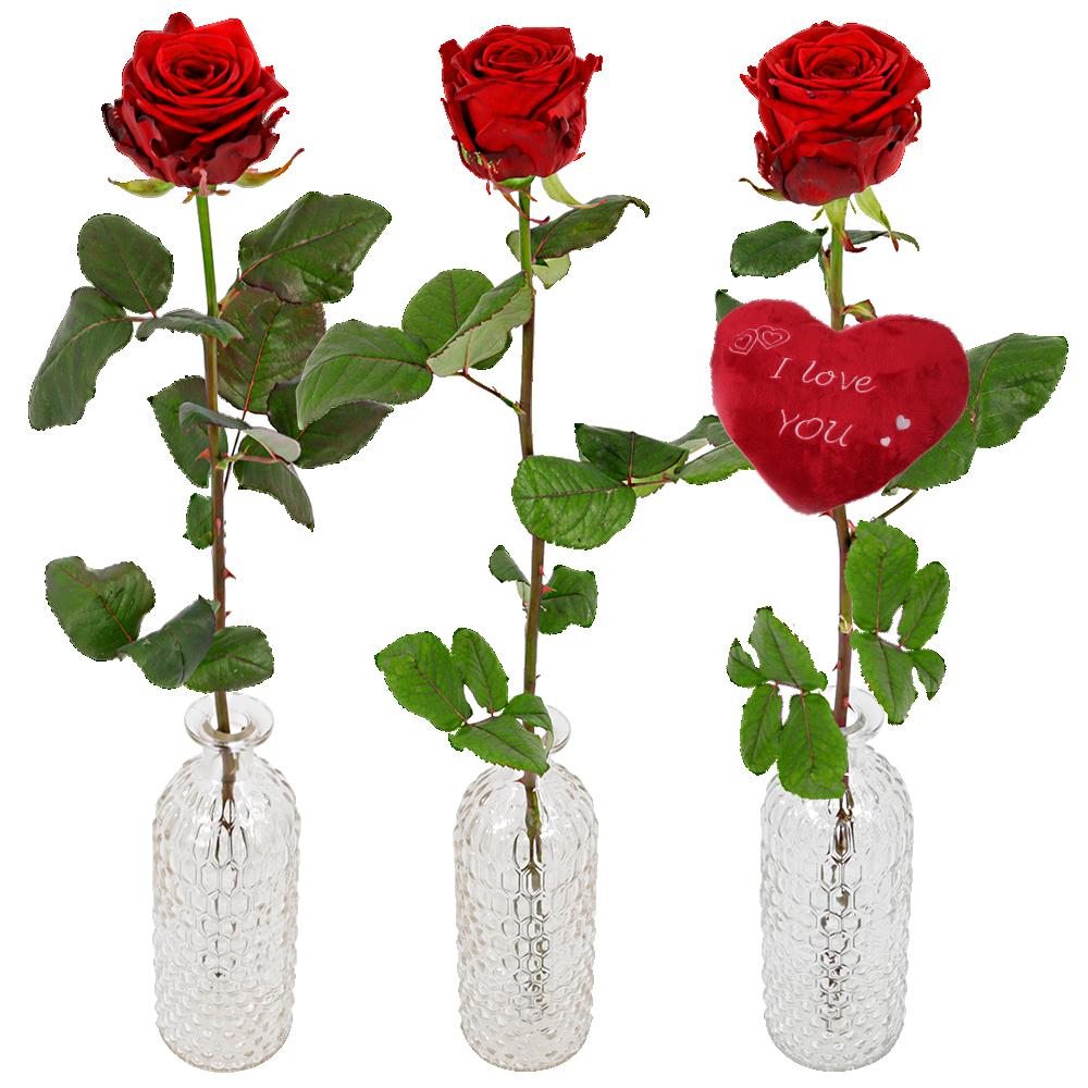 1 of 2 of 3 rode Valentijn rozen in een rozenvaas