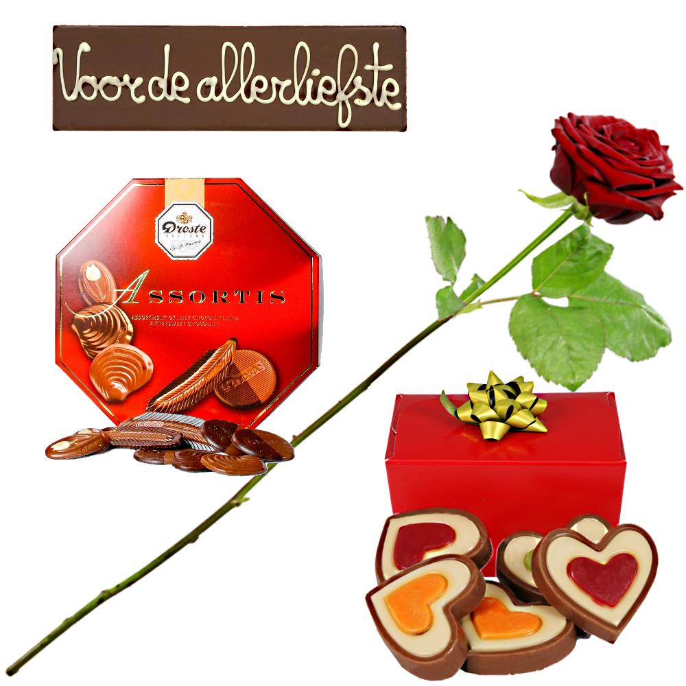 Chocolade pakket met rode roos bezorgen