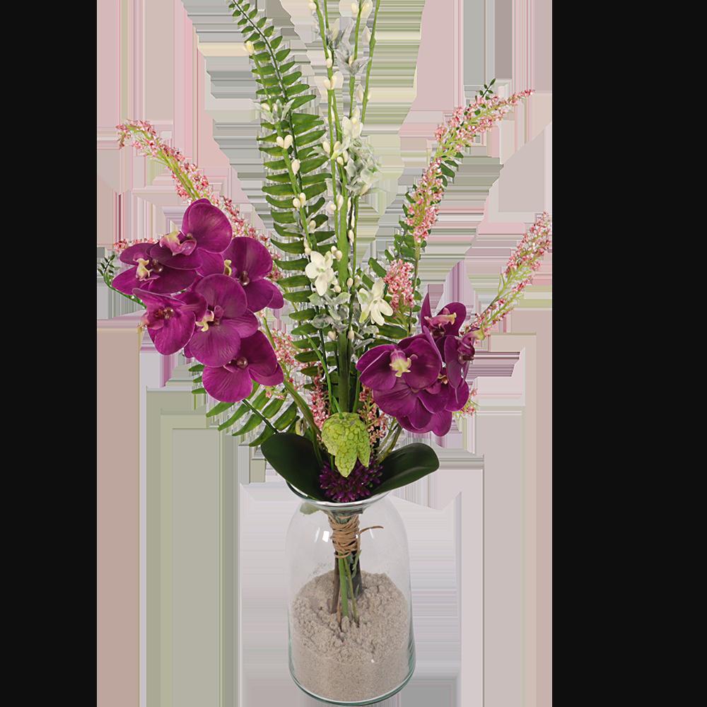 Modern Zijde boeket paars met o.a phalanopsis orchidee