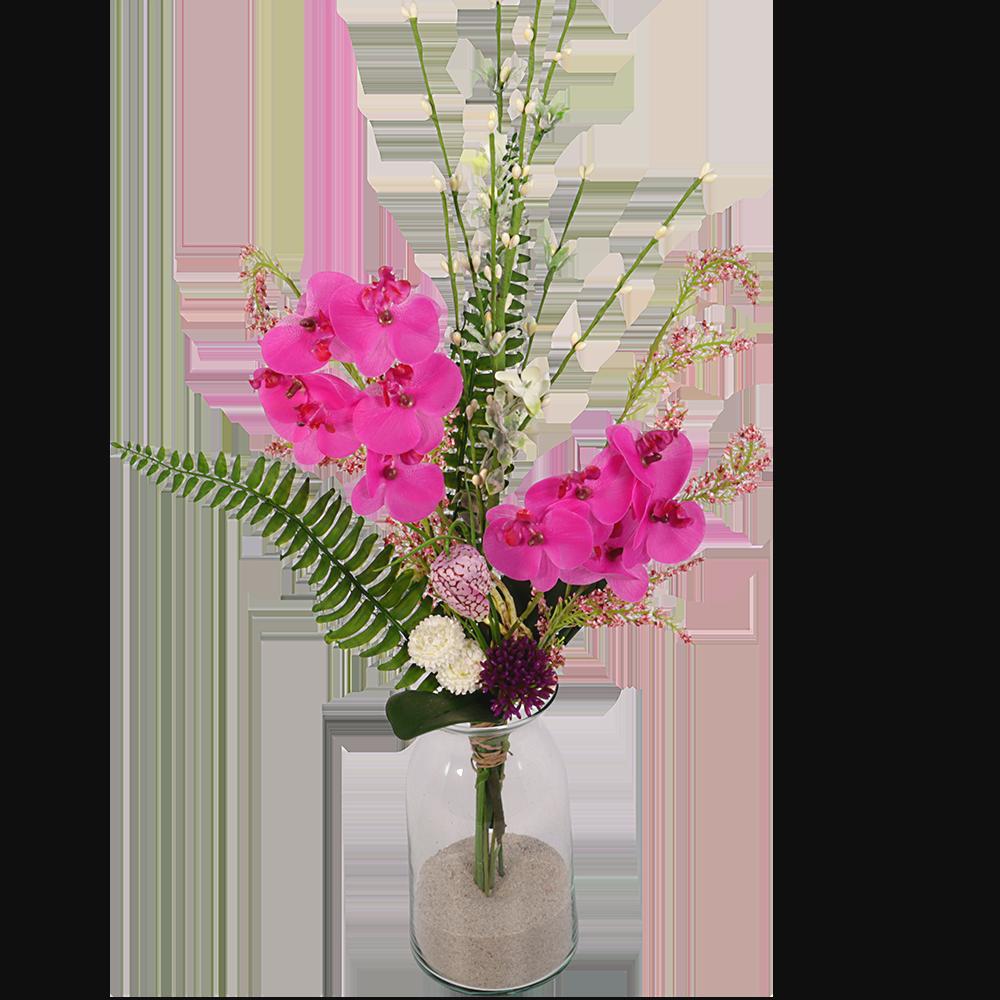 Zijde bloemen boeket met o.a phalanopsis