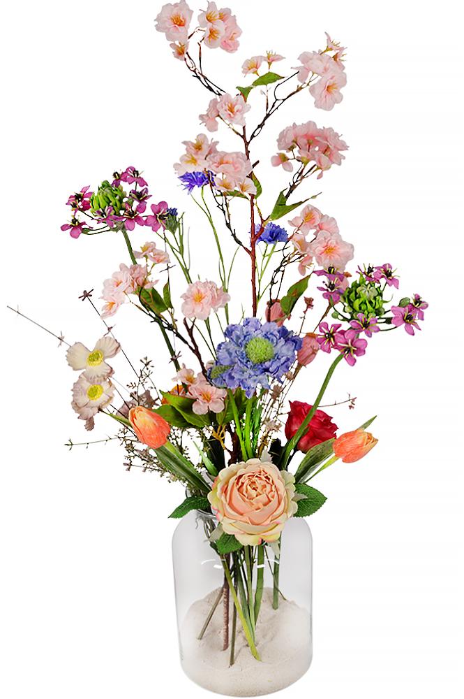 Zijdebloemen pastel bont in melkbus vaas