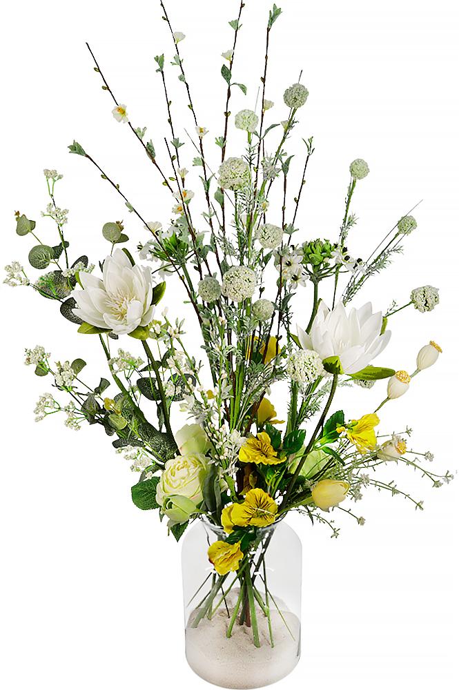 Zijdebloemen plukboeket met glazen vaas