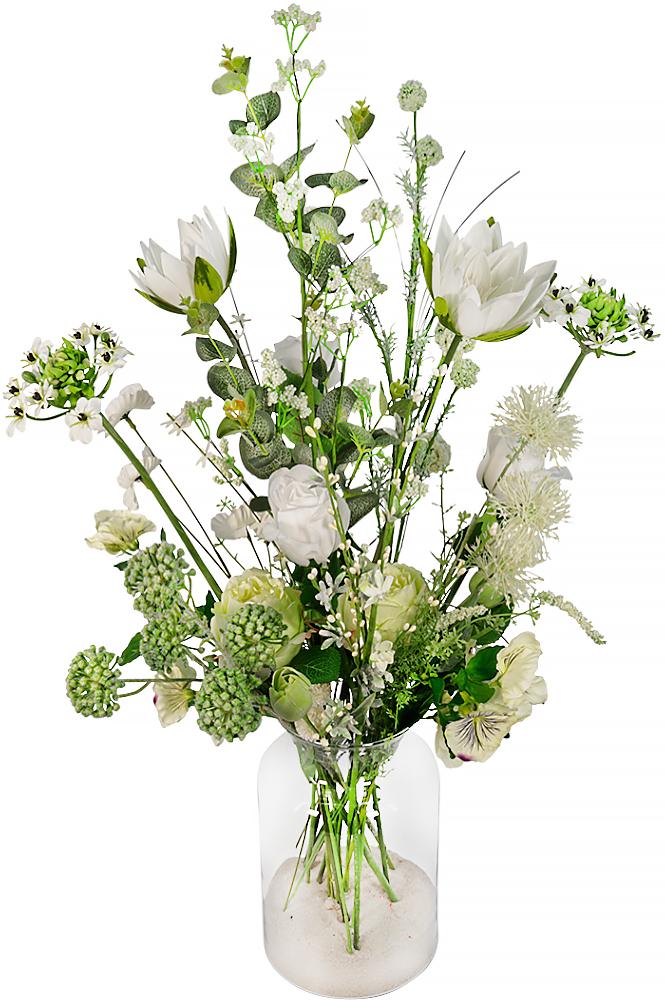 Zijdebloemen wit plukboeket in vaas