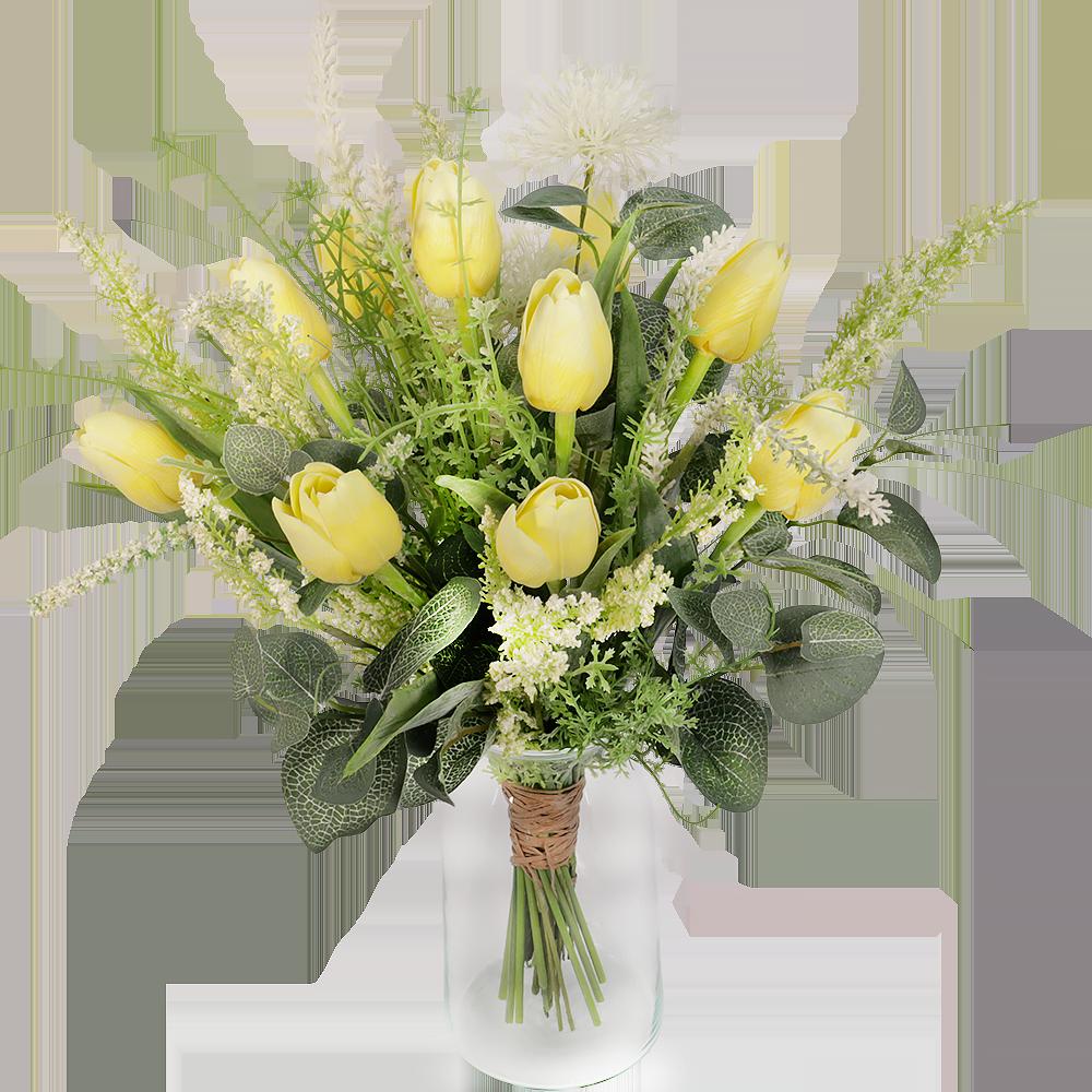 Gele zijde tulpen boeket