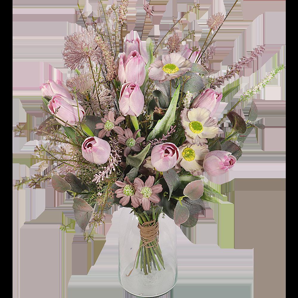 Lila zijde tulpen boeket