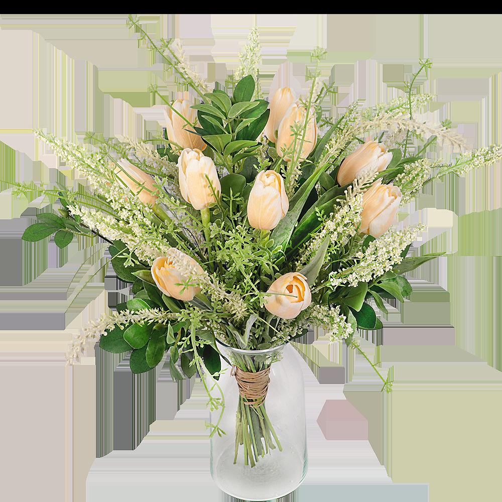 Zalm zijde tulpen boeket