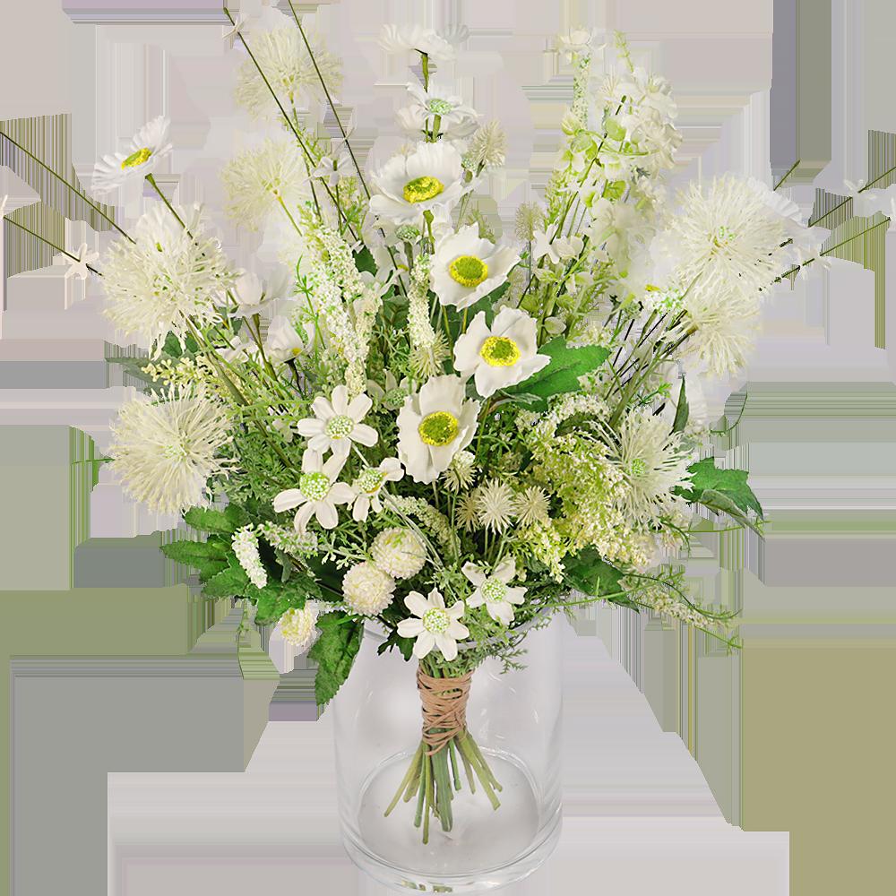 Veldboeket zijdebloemen wit groen