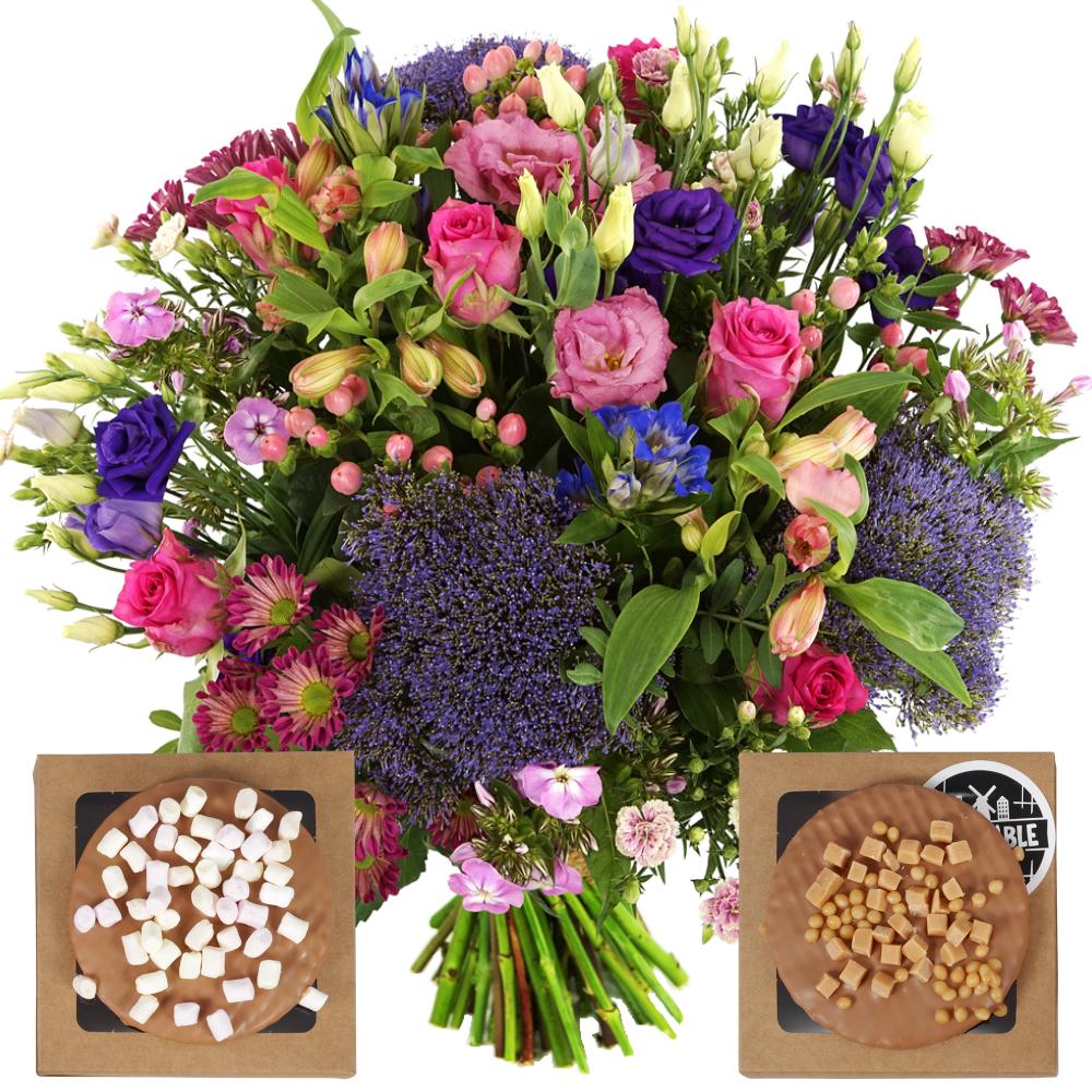 Boeket paars roze + stroopwafels met topping