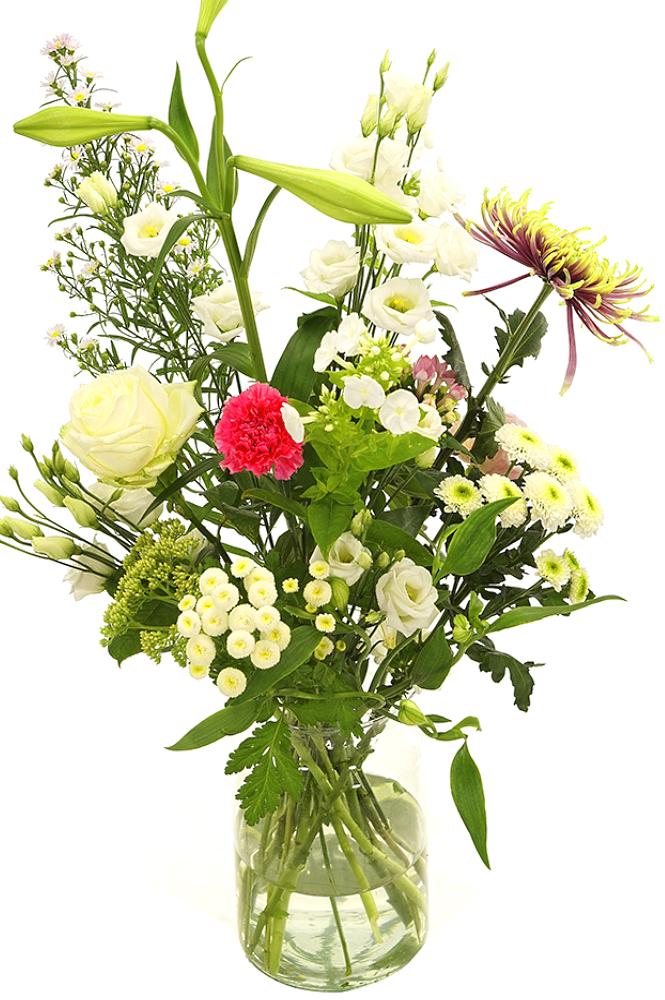Witte en roze bloemen in glazen melkbus vaas