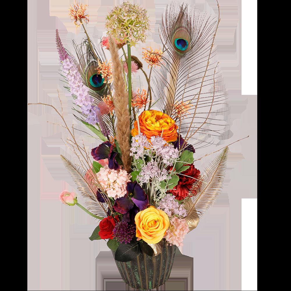 Boeket zijdebloemen bont vintage look