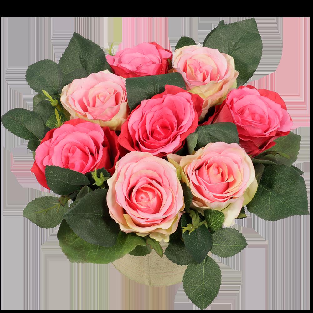 Zijde roze rozen in pot