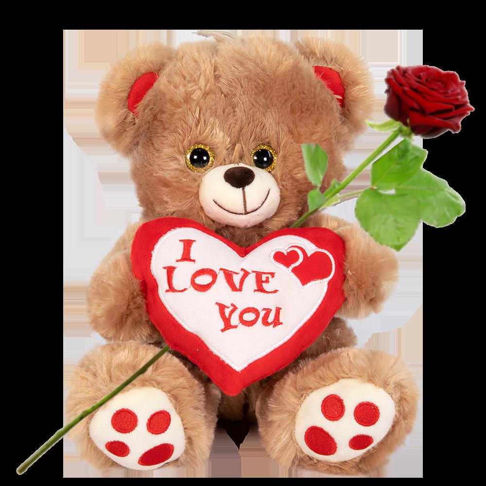 Bruine knuffelbeer met hart bestellen