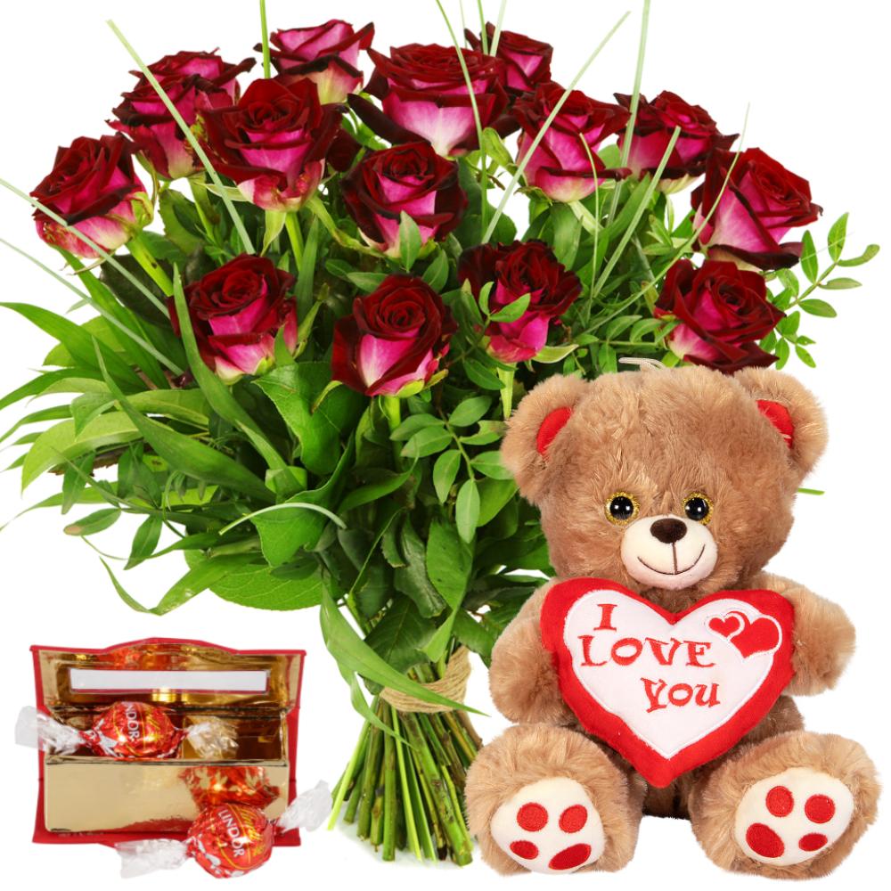Rode rozen en knuffelbeer bezorgen