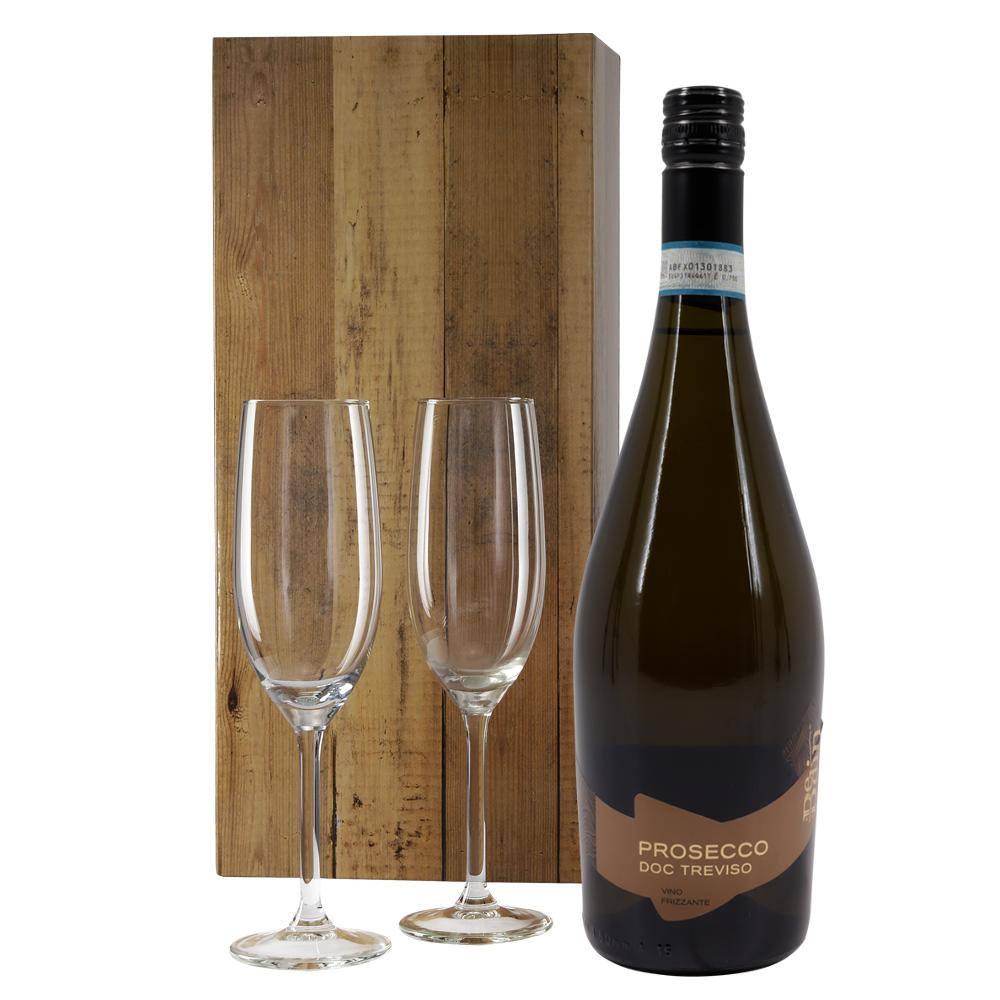 Prosecco wit met 2 champagne glazen
