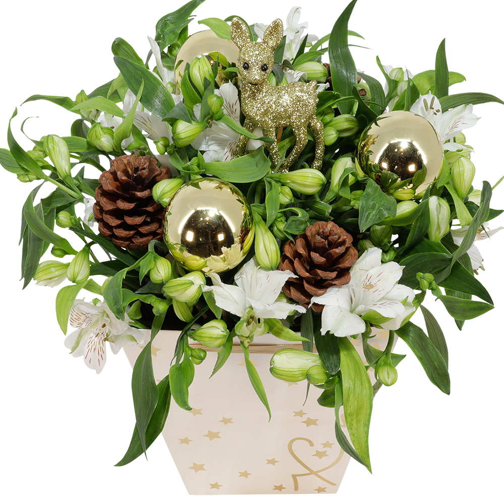 witte kerst alstroemeria in gift tas