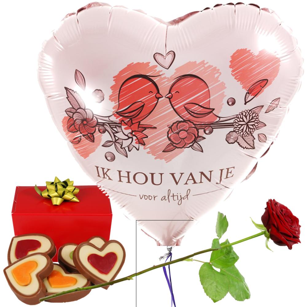 I hou van je hart ballon en chocolade bezorgen