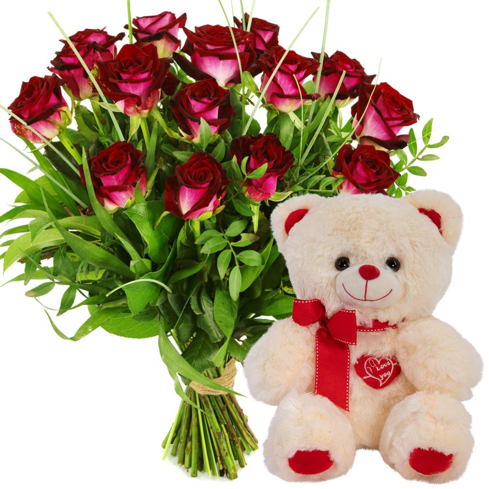 Rode rozen bezorgen met witte knuffel i love you