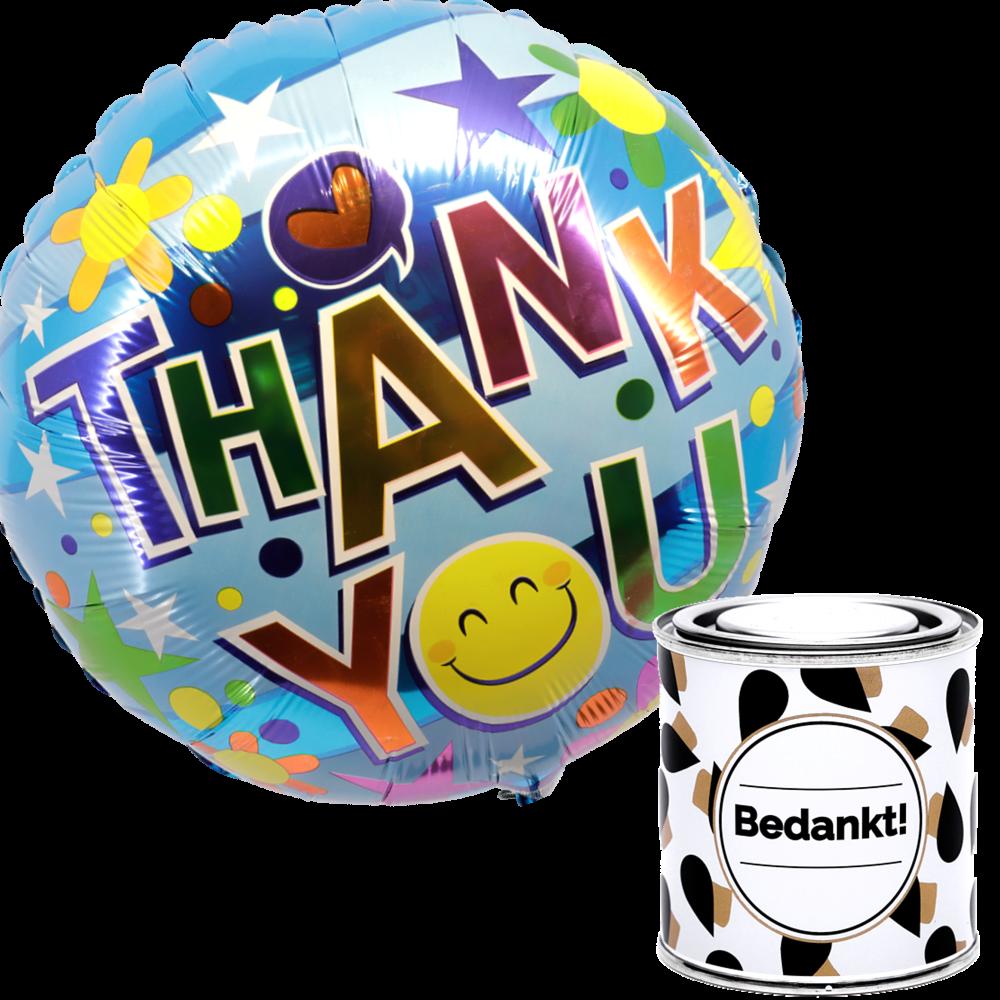Thank you ballon + snoep bedankt blikje