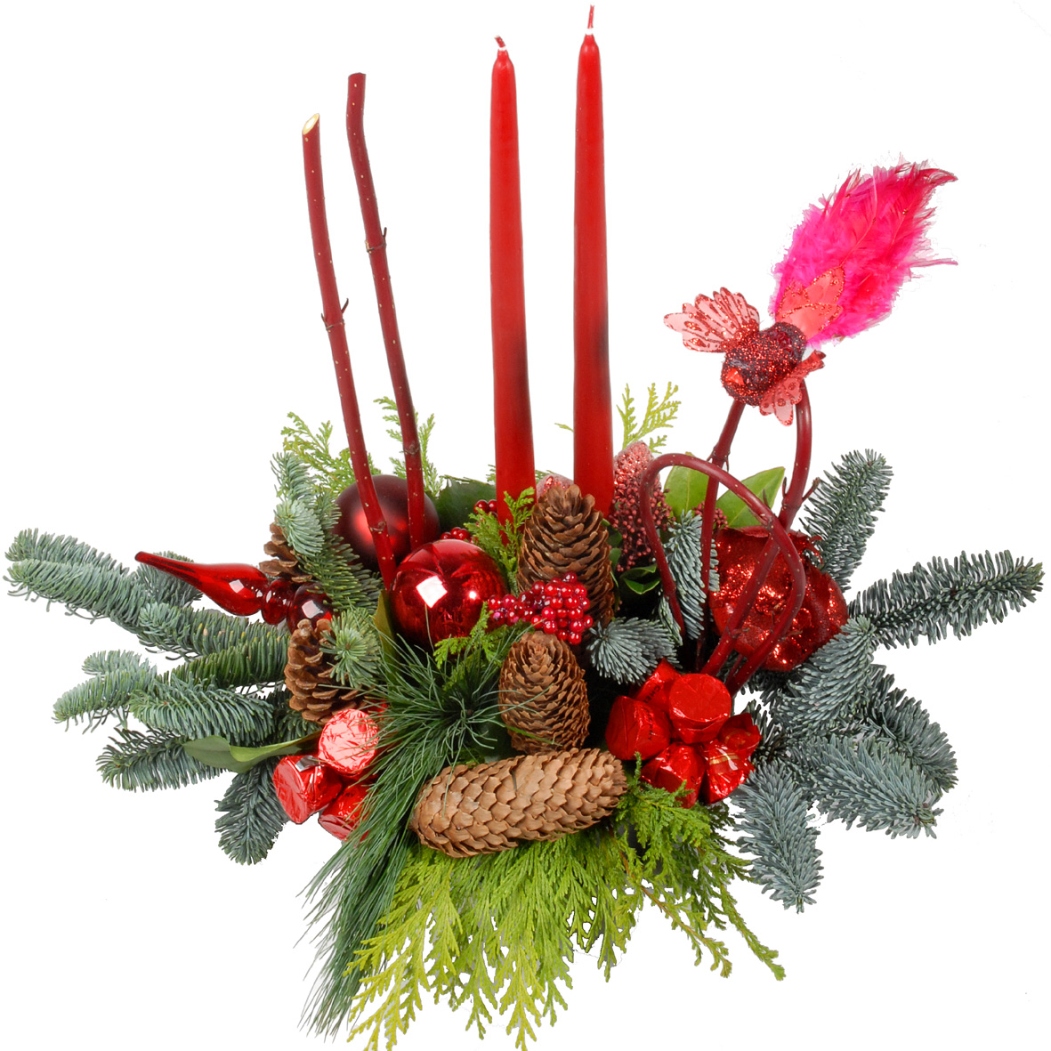 Kerststuk met kaarsen + kersenbonbons